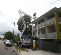 crane lifted for gutter guard